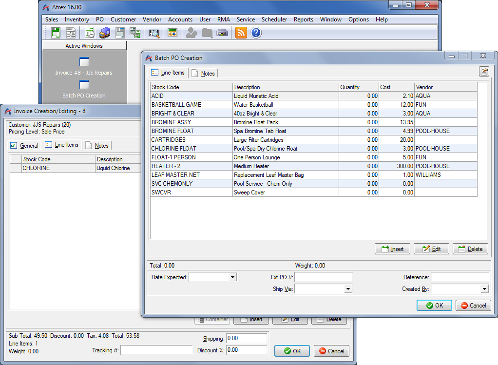 Atrex Inventory Control/Point of Sale Software